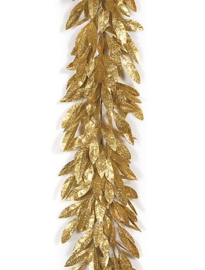 6 Foot Plastic Glittered Bay Leaf Garland: Set of (4) For Christmas 2014