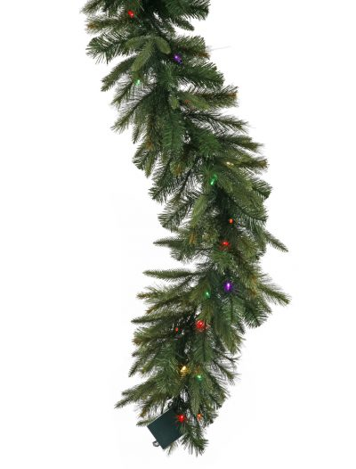 6 foot Cashmere Pine Garland with Multi-Colored Lights & Timer For Christmas 2014