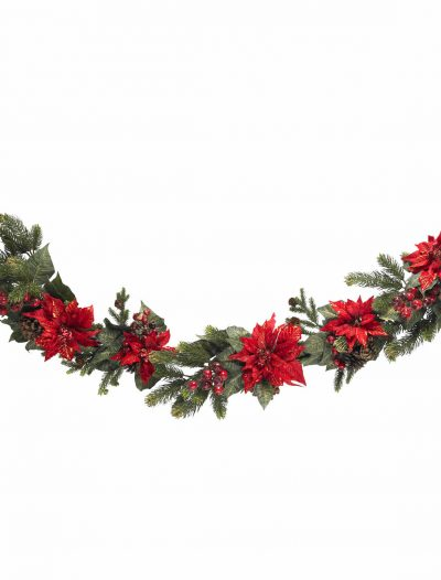 60 inch Poinsettia and Berry Garland For Christmas 2014