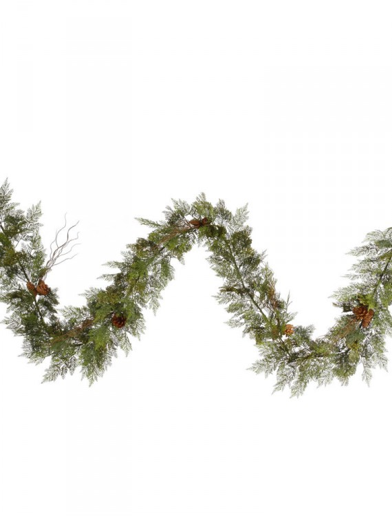 9 foot Cedar Garland with Twigs and Pine Cones For Christmas 2014