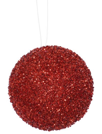 4 inch Artificial Beaded Sequin Ball Ornament (set of 4) For Christmas 2014