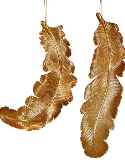 11 inch Shatterproof Antique Gold Matte Christmas Feather For Christmas 2014