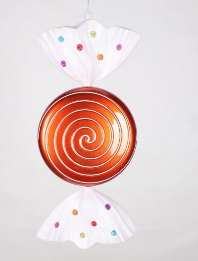 18.5 inch Orange Jewel Swirl Christmas Candy Ornament For Christmas 2014