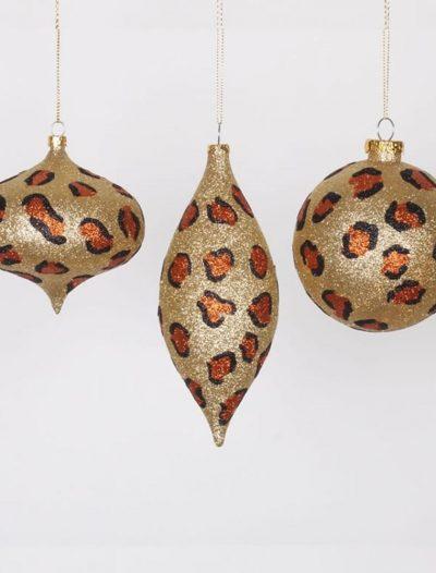 4 inch Cheetah Christmas Onion & Ball Ornaments (Set of 3) For Christmas 2014
