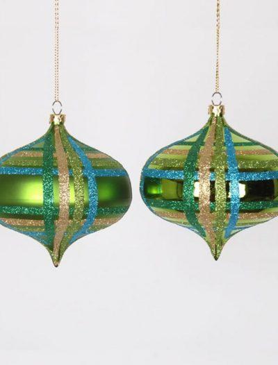3.93 inch Lime Christmas Onion Drop Ornament (Set of 4) For Christmas 2014