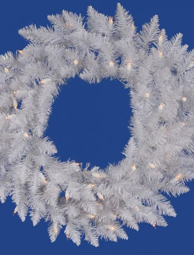 Vickerman A104225 24 in. White Spruce Wreath Dura-Lit (Christmas Tree)
