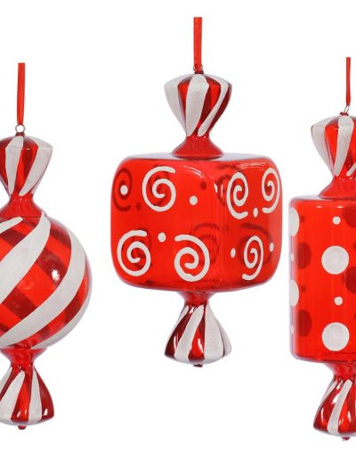 1.25 foot Red-White Fat Candy Christmas Ornament (Set of 3) For Christmas 2014