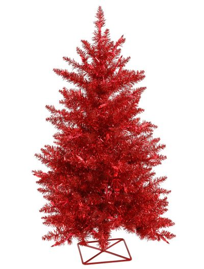 Red Christmas Tree with Red Mini Lights For Christmas 2014