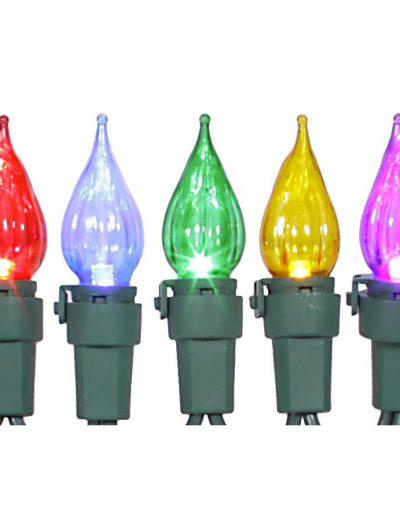 11ft 35 LED Flame Tip Light Strand with 4 inch Spacing on Green Wire For Christmas 2014